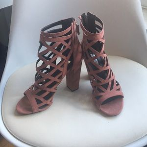 Guess blush heeled faux suede cutout booties